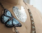 Special listing for Amy: Butterfly Statement Necklace, blue butterfly, blue morpho, eco friendly jewelry