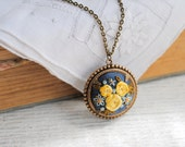 Flowers For Mom Necklace, Woodland Floral Jewelry, yellow rose blue forget me not, vintage silk