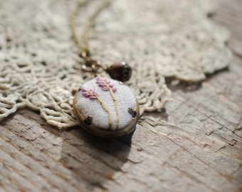 Lavender Necklace, embroidered pendant on recycled cream linen