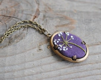 Purple Pendant, Queen Anne Lace embroidered recycled linen