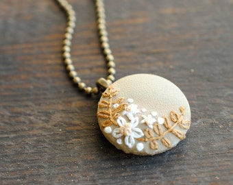 Woodland Embroidered Pendant, soft gold repurposed silk with ivory flowers