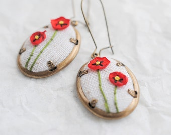 Red Poppy Earrings, Recycled Fashion, Upcycled Jewelry