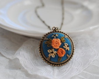 Coral Flower Necklace, peacock blue necklace, hand embroidered silk
