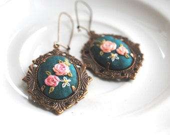 Teal Floral Earrings, Hand Embroidered Earrings, vintage style cameo earrings, spring fashion