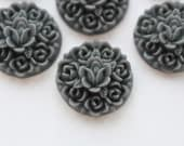 6 pcs Steel Gray Victorian Rose Floral Cabochons 15mm