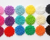 YOU CHOOSE 2 pcs Large Blooming Chrysanthemum Flower Cabochons 32mm