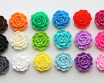 YOU CHOOSE 36 pcs Mini Ruffled Rose Cabochons 12mm