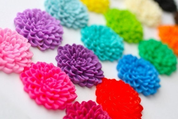 Deluxe Assortment 36 pcs Blooming Chrysanthemum Cabochons 32mm