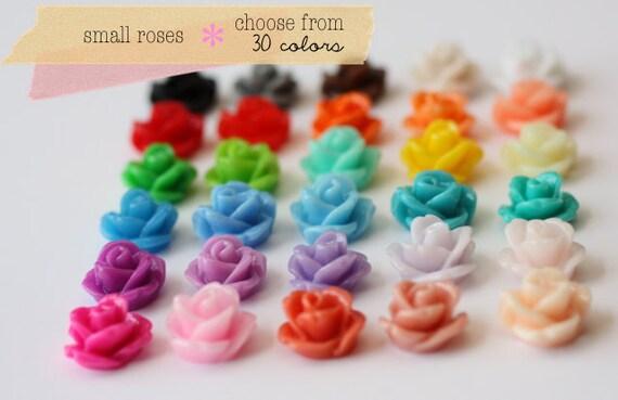 YOU CHOOSE 50 pcs Small Rose Cabochon Sampler Set 10mm