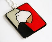 Modern Color Block Handpainted Rectangular Female Inspired Upcycled/Recycled Necklace in Red, Gray, Black & White