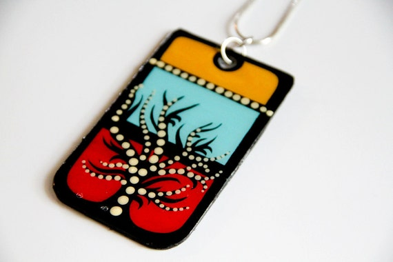 Modern Handpainted Rectangular Tree of Life Inspired Upcycled/Recycled Necklace in Red, Aqua and Yellow Color-block.