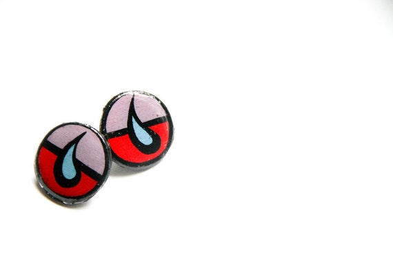 Small Bold and Circular Red and Lavender Modern Teardrop Inspired Earring Studs
