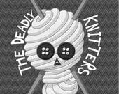 Illustration Yarn Halloween Mini Print - The Deadly Knitters Association