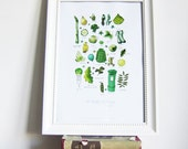 Irish Quirky illustration Print - 40 Shades of Green -