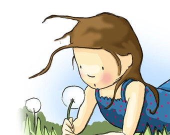 Illustration Girl Dandelion Print Summertime -Brunette