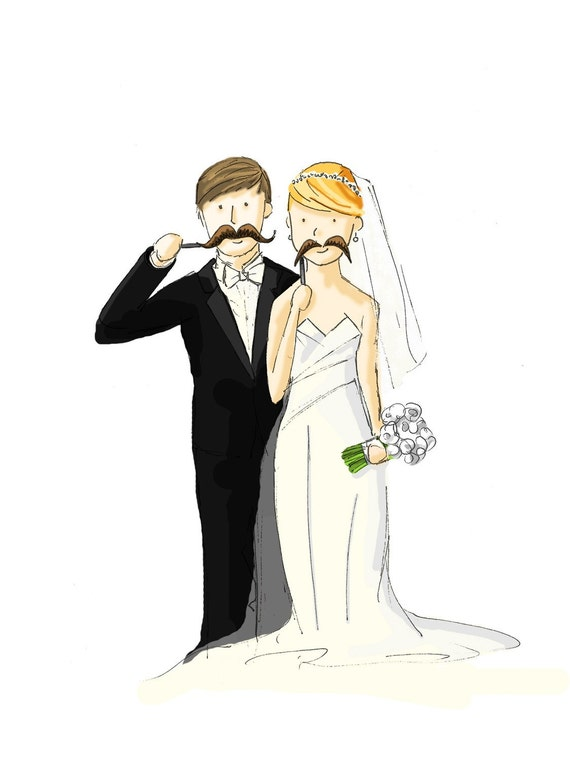 Quirky Personalized SIMPLE Wedding Illustration Custom Print -Anniversary Birthday gift