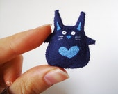 Miniature Rabbit Plush for BJDs Toys for Your Dolls Dark Blue Hearts