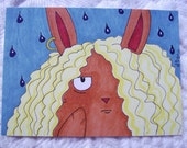 ACEO Bad Hare Day, Rainy Days Bad Mood Bunny Brown Rabbit