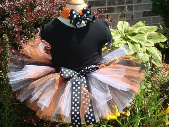 Child Halloween Fall Costume tutu, orange black white tutu, halloween tutu and headband, baby halloween costume, girl costume