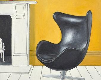 Eames Chair Print, Egg Chair Print, Midcentury Modern Art, Eames Egg Chair Art, Black Egg Chair, Vintage Midcentury Chair, Modern Chair Art