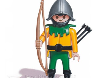 Medieval Knight Print, Playmobil Toy Archer, Boys Wall Decor, Nursery Art, Medieval Archer Print, Archery Wall Art, 8 x 10 Archer Print