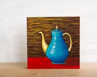 Sale - 'Vintage Teapot' Original Painting by Mara Minuzzo