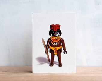 Playmobil Toy Art Block - Tribal Warrior by Mara Minuzzo