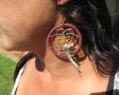 Dreamcatcher earring with purple suede leather, gemstones and feathers