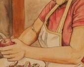 Woman baking apple pie watercolor original