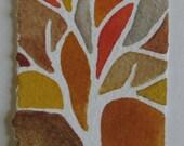Fall mini tree silhouette original watercolor painting