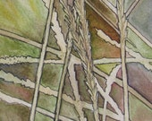 Abstract grasses original pen and ink and watercolor painting