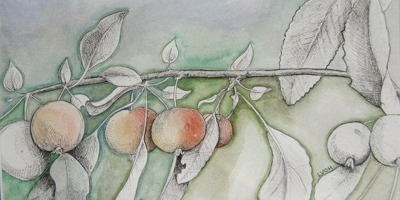 Crabapple Branch original watercolor painting