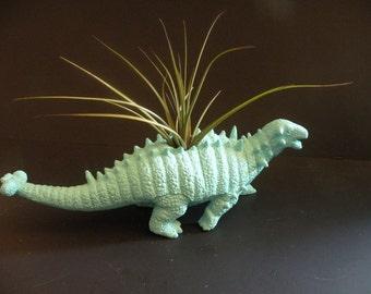 Dinosaur planter in sea foam green with air plant.