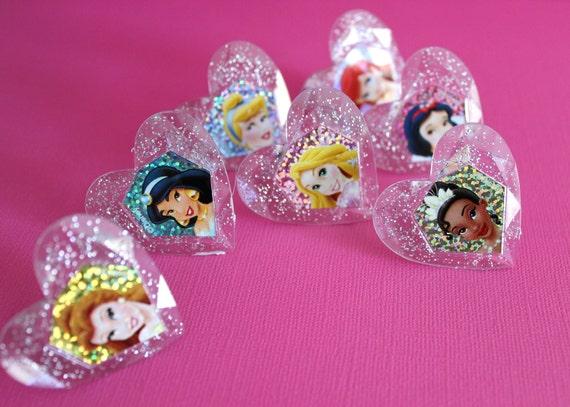 disney princess glitter rings cupcake toppers by catalu