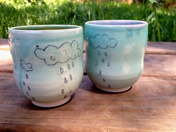 rainy day cloud tumbler pair