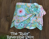 "The ""Ruby"" Reversible Wrap Skirt, Girl PDF Sewing Pattern, Fabric Flower Pattern"