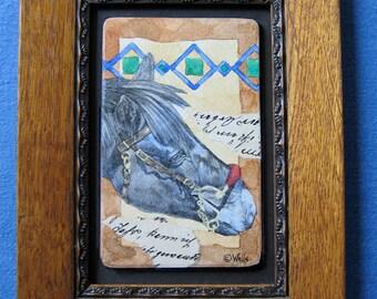 Original framed horse art collage