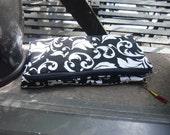 Damasck Folded Clutch w Ruby Dangle Pendant Dress Clutch, Casual Clutch, I PAD Case, Diaper Bag onthe Run