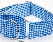 Upcycled Blue Gingham Martingale Dog Collar