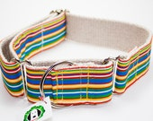 Upcycled Extra Wide Preppy Martingale Dog Collar - M/L