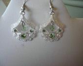 Vintage Drape Earrings- Peridot Swarovski Crystal