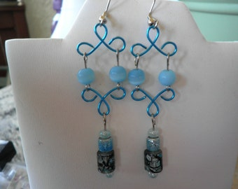 Sale Blue Wire and Glass Bead Earrings