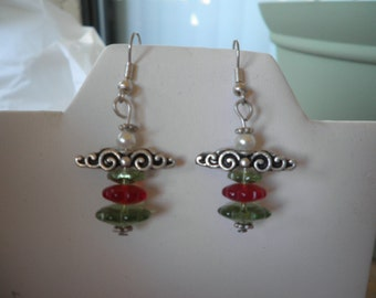 Green and Red Angel Earrings