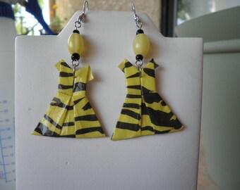 Origami Tiger Strip Printed Dress Earrings