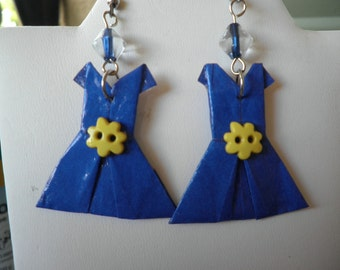 Origami Solid Blue Dress with a yellow flower button earings