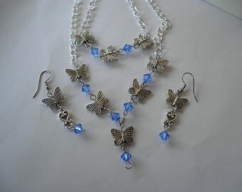 SALE  Butterfly Swavorski necklace set in sapphire