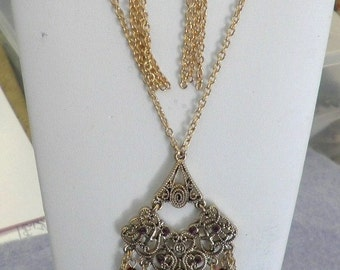 SALE  Gold and Red Chandelier Pendant Necklace and Earrings Set