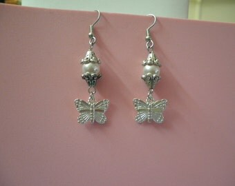 Swarovski Crystal Rose Pearl with Butterfly Earrings