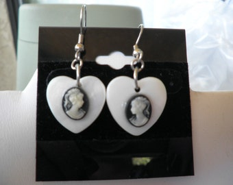 White Heart with Cameo Earrings