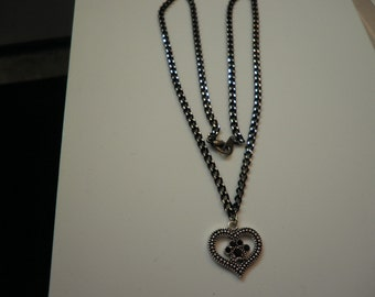 Pet Paw Necklace in Jet Black Swarovski Crystals
